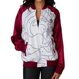 Adidas x Rita Ora teddy jacket with satin sleeves